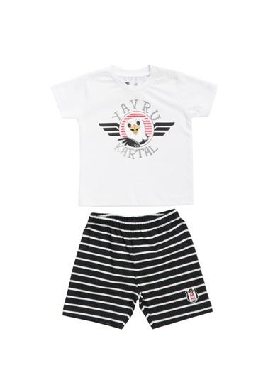 Beşiktaş Beşiktaş Lisanslı Bebek T-Shirt Şort 2'Li Takım Siyah Beyaz